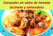 caracoles en salsa de tomate, tocineta y almendras